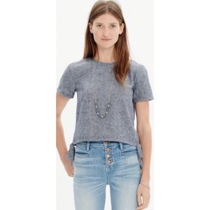 Madewell Side Tie Gray Chambray Crop Top